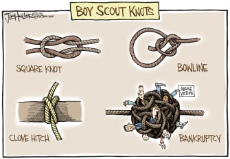 Editorial Cartoon U.S. Boy Scouts of America Roger Mosby bankruptcy abuse victims knots