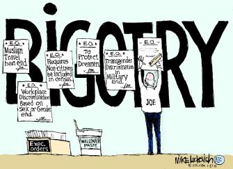 Political Cartoon U.S. Biden executive orders bigotry