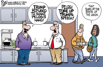 Political Cartoon U.S. Trump Nancy Pelosi State of the Union speech ripped handshake