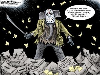 Political Cartoon U.S. GOP ballots election Friday the 13th