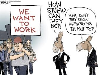 Political Cartoon U.S. Democrats coronavirus anti lockdown protests