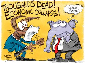 Political Cartoon U.S. democrats GOP coronavirus michael flynn