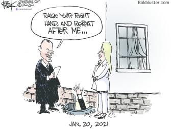 Political Cartoon U.S. Biden presidency basement