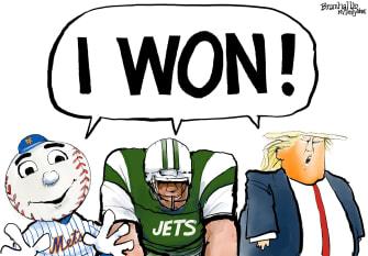 Political Cartoon U.S. Trump loss Jets Mets