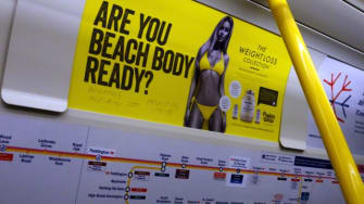 A controversial Protein World subway advertisement