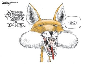 Political Cartoon U.S. desantis florida voting fox news