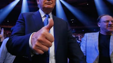 Trump attends a bout at Madison Square Garden in 2015, although these days he would rather be in one.