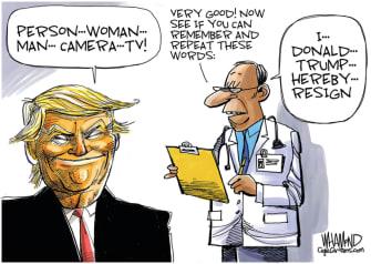 Political Cartoon U.S. Trump cognitive test