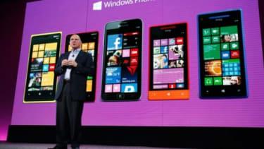 Microsoft CEO Steve Ballmer unveils the new Windows Phone 8 on Oct. 29.