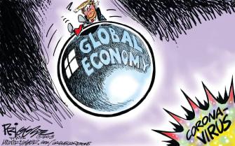 Political Cartoon U.S. Trump coronavirus global economy bombed