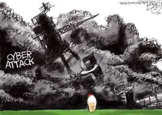 Political Cartoon U.S. Russia hack Trump