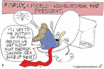 Political cartoon U.S. Trump Down Toilet Energy Saving Idea