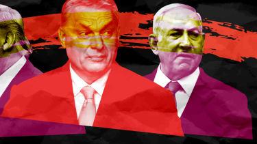 President Trump, Viktor Orban, and Benjamin Netanyahu.
