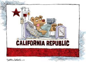 Editorial Cartoon U.S. California coronavirus flag
