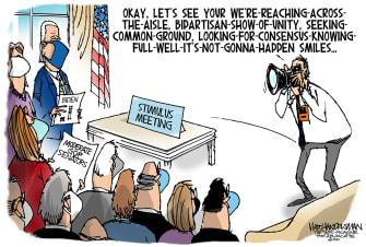 Political Cartoon U.S. biden unity stimulus