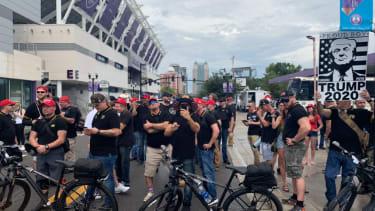 Proud Boys gather outside the Trump rally in Orlando Florida.