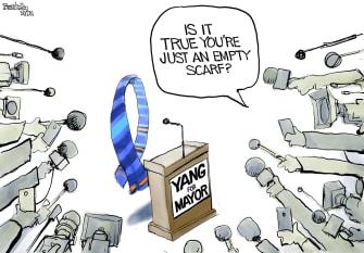 Political Cartoon U.S. andrew yang nyc mayor