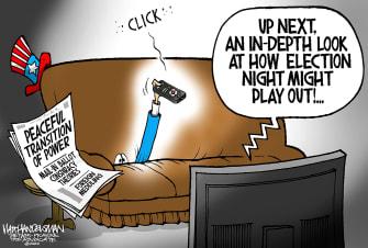 Political Cartoon U.S. 2020 election transfer of power