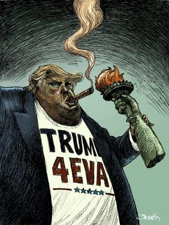 Political Cartoon U.S. Trump lady liberty light impeachment