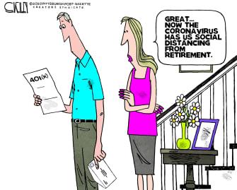 Editorial Cartoon U.S. 401 K retirement sinks coronavirus