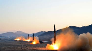 An undated photo released by North Korea's Korean Central News Agency on March 7, 2017, showing the launch of four ballistic missiles by the Korean People's Army.
