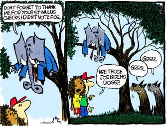 Political Cartoon U.S. gop covid stimulus biden dogs