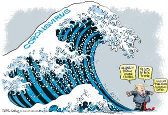 Political Cartoon U.S. Trump Coronavirus Easter wave cases churches