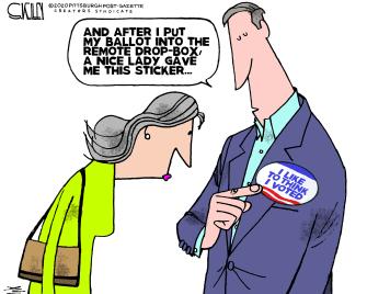 Political Cartoon U.S. Mail in voting
