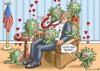 Political Cartoon U.S. Trump coronavirus 2020