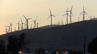 Wind turbines near Interstate 10 in Palm Springs, California.