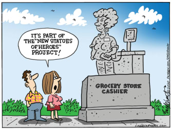 Editorial Cartoon U.S. statue essential workers coronavirus
