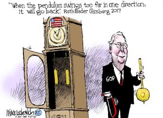 Political Cartoon U.S. McConnell Ginsburg pendulum