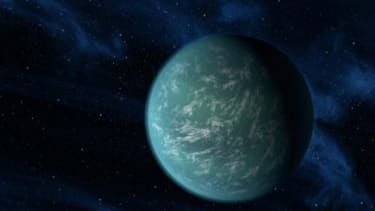 An artist's conception of Kepler-22b, a planet 600 light years away from Earth, and the first confirmed planet outside our solar system that could conceivably harbor life as we know it.