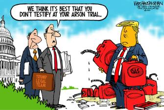 Political Cartoon U.S. Trump impeachment trial