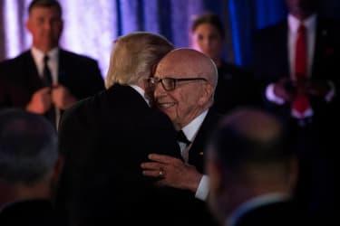 Rupert Murdoch embraces President Trump in 2017