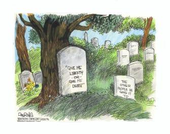 Editorial Cartoon U.S. anti lockdown protests coronavirus