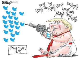 Political Cartoon U.S. Trump twitter baby