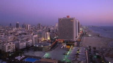 """The modern skyline of Tel Aviv, the Middle East's only """"true democracy."""""""