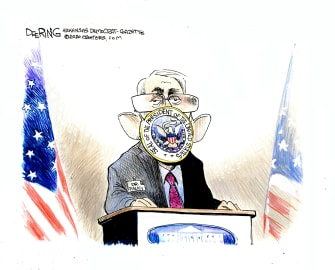 Political Cartoon U.S. Fauci sealed by White House Trump reserved speech