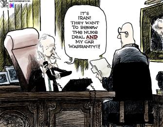 Political Cartoon U.S. biden iran nuclear deal