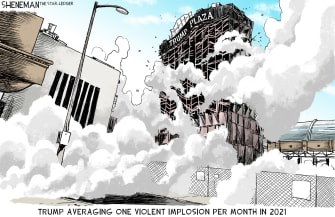 Political Cartoon U.S. trump plaza implosion