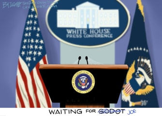 Political Cartoon U.S. biden press conference