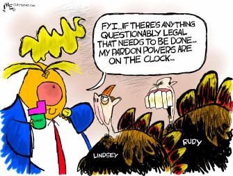 Political Cartoon U.S. Trump Graham Giuliani pardons