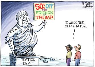 Political Cartoon U.S. Barr Trump statue
