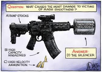 Political Cartoon U.S. mass shooting congress inaction