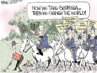 Political Cartoon U.S. Georgia Schumer Democrats Sherman