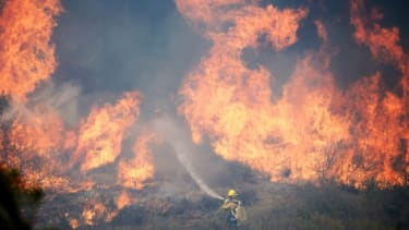 Forestry fire fighters battle a wall of flames on May 2.