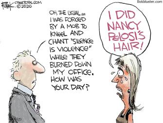 Editorial Cartoon U.S. protests Nancy Pelosi salon
