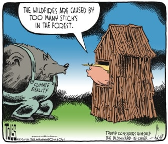 Political Cartoon U.S. Trump wildfires