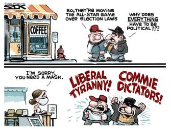 Editorial Cartoon U.S. covid mask restrictions mlb georgia